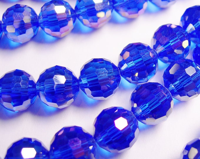Crystal - round faceted 10mm beads - 72 beads - AA quality -  Sparkle royal blue - 26 inch strand