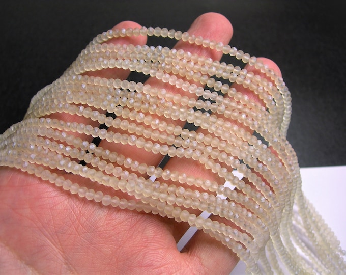 Crystal faceted rondelle - 3.5mmx2.5mm - Beige - 147 pcs - full strand - frosted  - CRV159