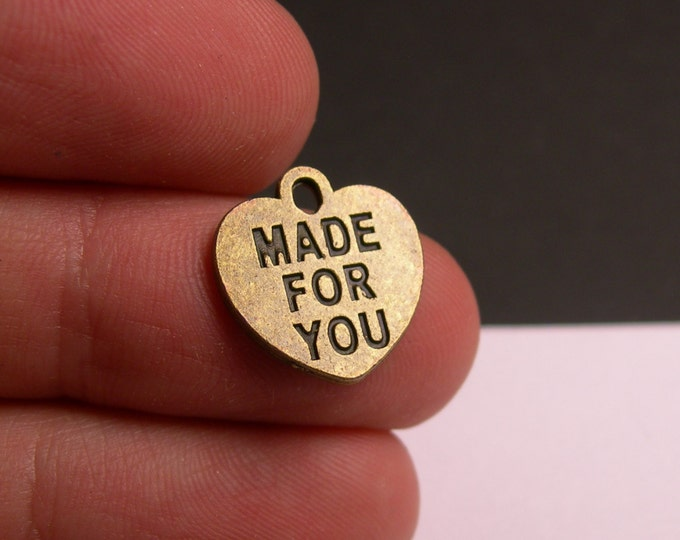 24 made for you charms - antique brass made for you charms - hypoallergenic- 24 pcs - ZAB28