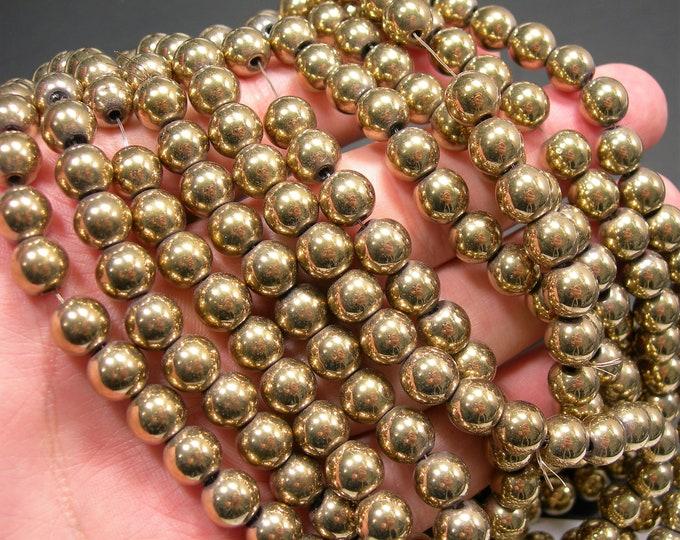 Hematite Gold - 8mm round beads - full strand - 53 beads - RFG2326