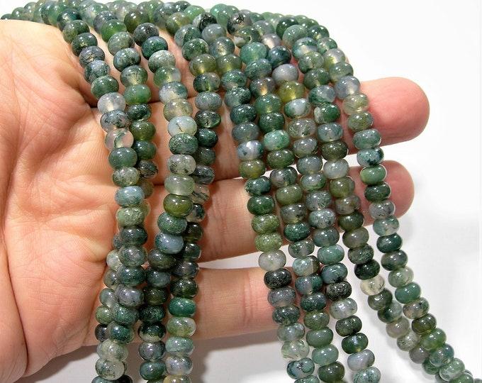 Moss agate - 6mm rondelle beads - full strand - 88 beads - 4mmx6mm - RFG1723