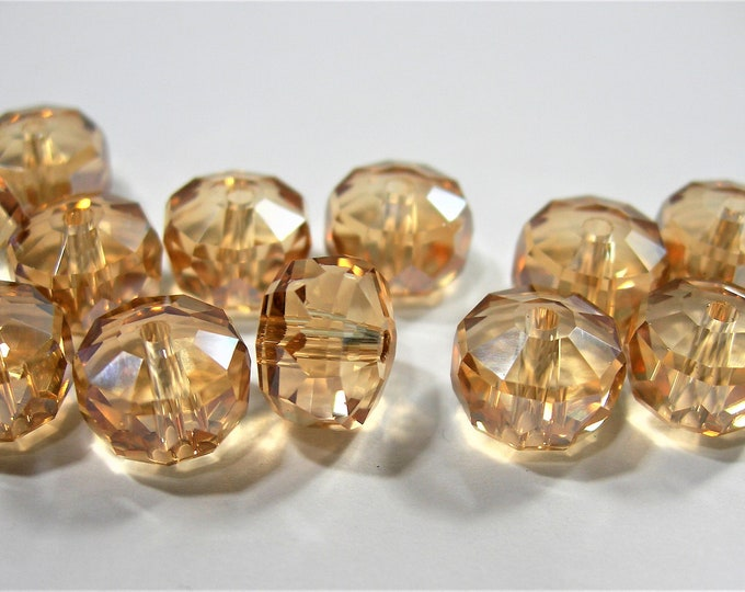 Crystal faceted rondelle wheel - 12 pcs - 7mm x 10mm - AA quality - golden topaz - BCR20