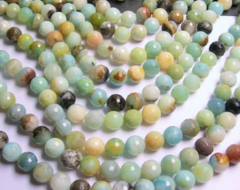 Amazonite - 12 mm faceted round beads -1 full strand - 33 beads - RFG210