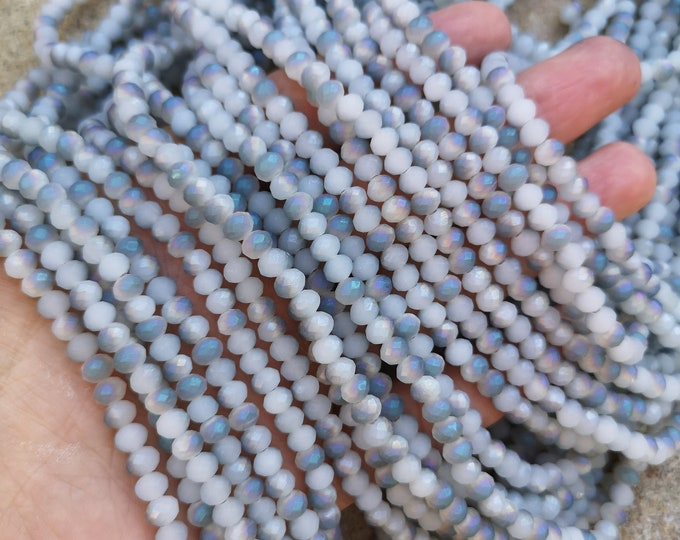 Crystal faceted rondelle - 97 pcs - 6 mm - full strand - labrador dual tone  frosted - GSH80