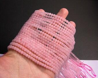 Rose quartz matte 4mm round - full strand - 93  beads - matte rose quartz - frosted - RFG1377