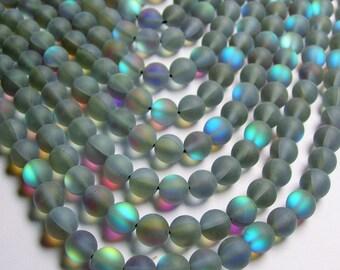 Mystic aura quartz grey - 8mm round - Holographic quartz - matte - 48 Beads - full strand - RFG834