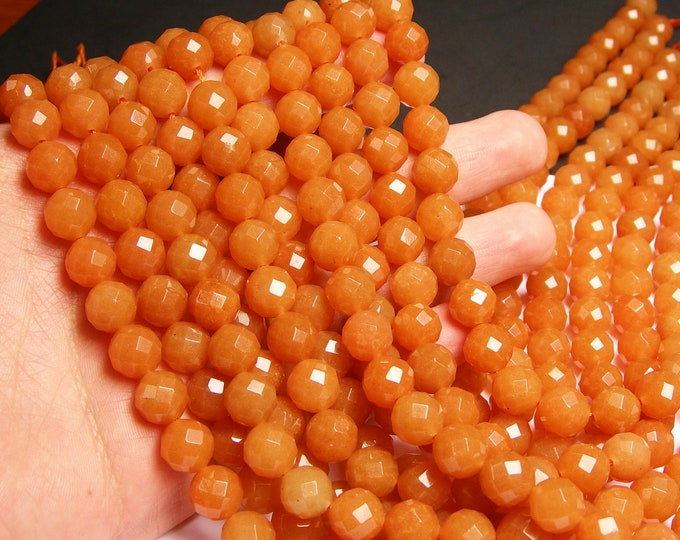 Red aventurine  - 10 mm faceted beads -1 full strand - 38 beads - A Quality - RFG984
