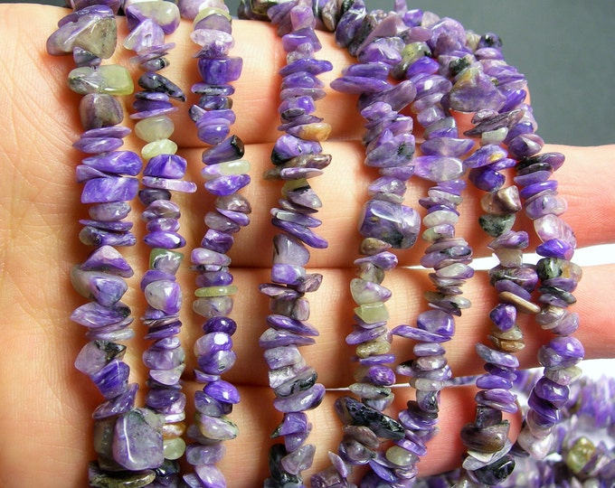 Charoite Gemstone - pebble - chip stone beads  - 36 inch - PSC56