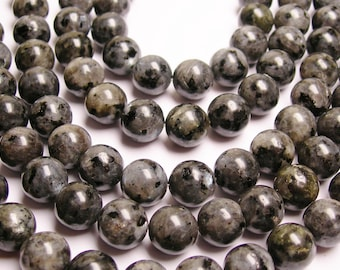 Larvikite - black labradorite - 12mm round - A Quality - full strand - 32 Beads - RFG990