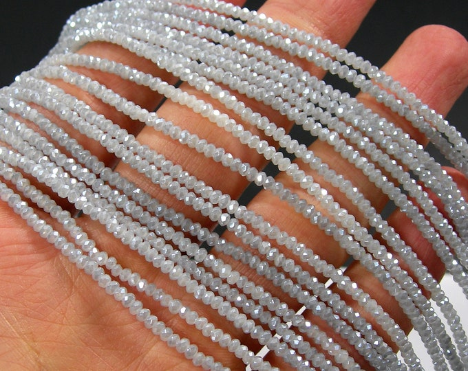 Crystal - rondelle faceted 2.5mm x 1.5mm beads - 194 beads - AA quality - milky grey  - CAA2G211