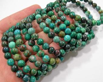 Chrysocolla - 8mm round beads - 23 beads - 1 set  - Natural Chrysocolla - HSG228