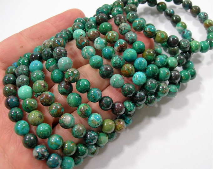 Chrysocolla - 8mm round beads - 23 beads - 1 set  - Natural Chrysocolla - HSG228
