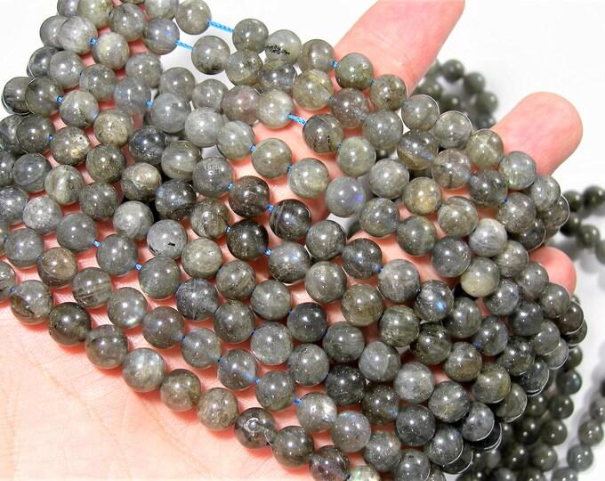 Labradorite - 8mm (7.6mm - 8mm)beads - 1 full strand - 50 beads  - RFG548