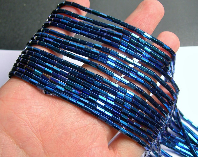 Hematite blue - 5mm tube hexagon beads -  full strand - 82 beads - AA quality - mystic blue -  PHG242