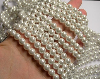 Pearl  8 mm round  lustruous white Pearl  1 full strand  48 beads - SPT2 - Shell pearl