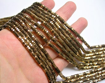 Hematite Bronze - 2mmX 4mm hexagon heishi slice  beads - full strand - 200 beads - AA quality  - PHG267