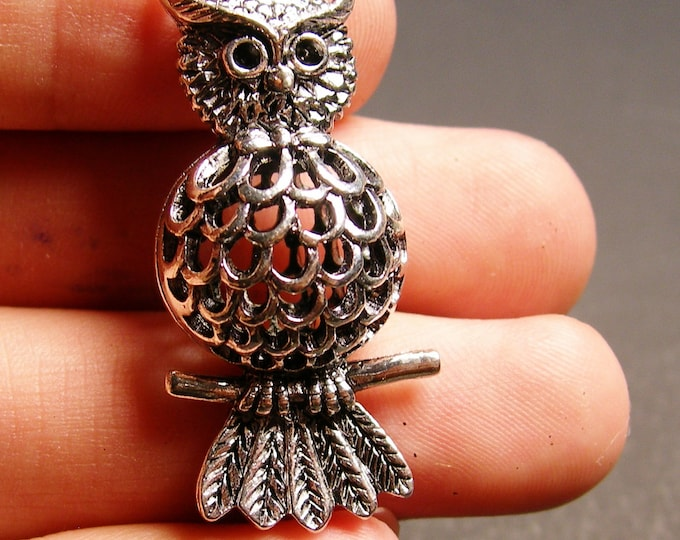 Silver Owl charm 2 pcs - 42mm by 17mm - hypoallergenic- 3D