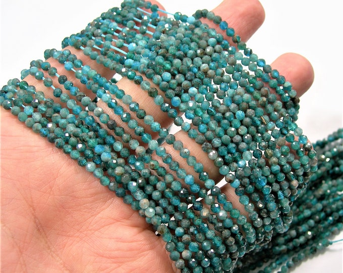 Apatite - 3mm faceted round beads - full strand  129 beads - micro facted Blue Apatite - PG228
