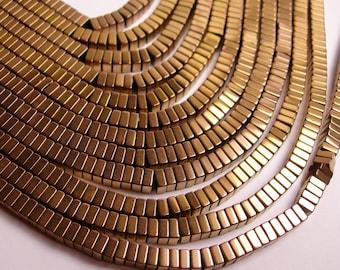 Hematite bronze  - 4x2mm heishi square slice beads - full strand - 190 beads - A quality  - PHG100