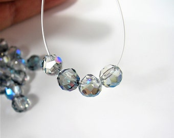 24pcs Faceted crystal onion briolette beads - 8mm - top sideways drill - aqua glacier ab - BCO9
