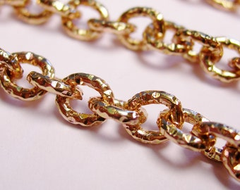 Copper chain hammered  - lead free nickel free won't tarnish - 1 meter-3.3 feet made from aluminum