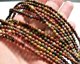 Red creek jasper - 4mm(4.2mm) - 91 beads - full strand - A quality - Picasso jasper - RFG 1014