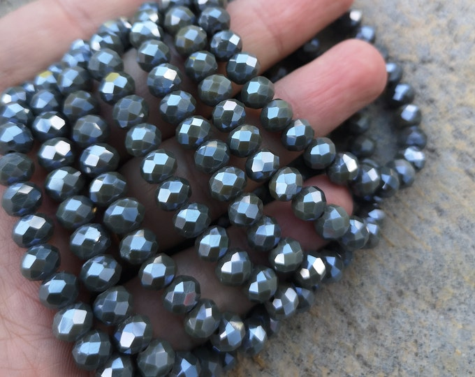 Crystal elastic - 29 beads - 8 mm - 1 set - Grey - HSC19
