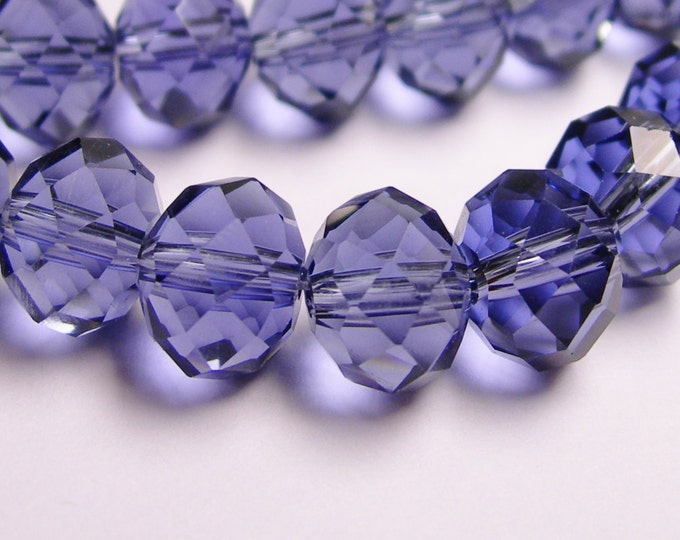 Crystal faceted rondelle -  72 pcs - 10mm by 7mm - AA quality - purple - 1 full strand