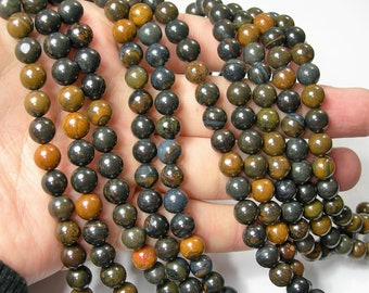 Blue tiger iron -  8 mm round beads - full strand - 49 beads - A quality - RFG1619
