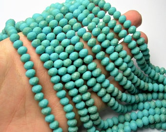 Crystal faceted rondelle - 72 pcs - 8 mm - AA quality - full strand - matte turquoise light dual tone  - GSH79