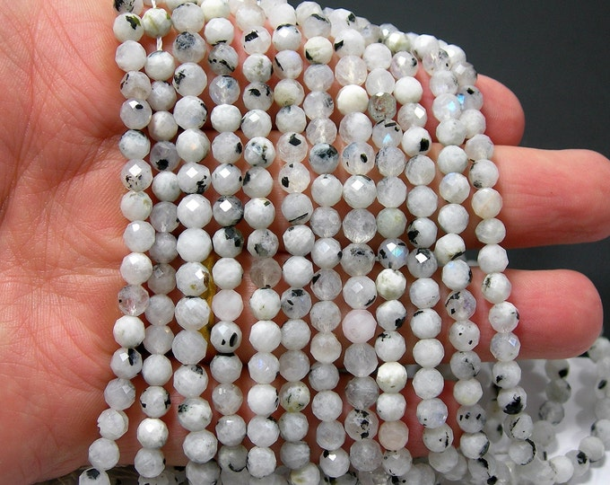 Moonstone - 5mm micro faceted round beads - 78 beads - Full strand - Moonstone black rutile - PG369