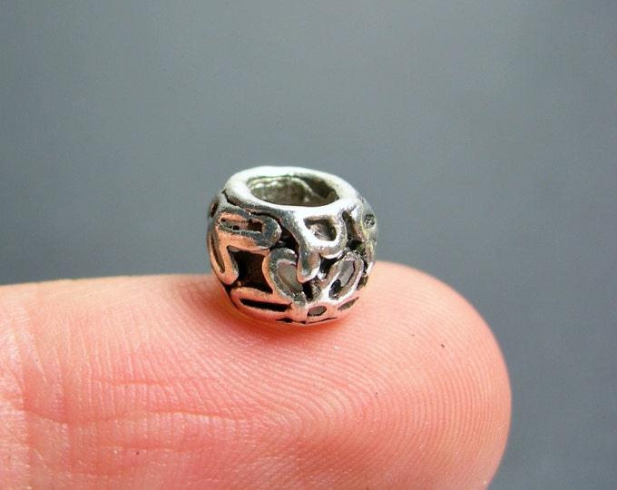 12 pcs engraved big hole silver tone beads -  ASA203
