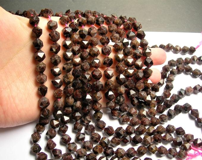 Garnet - 9mm big diamond cut  faceted beads - full strand - 38 beads - Garnet - RFG1415