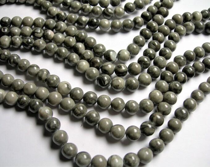 Black Fossil Jasper - 8mm  round beads - 1 full strand - 49 beads - RFG1113
