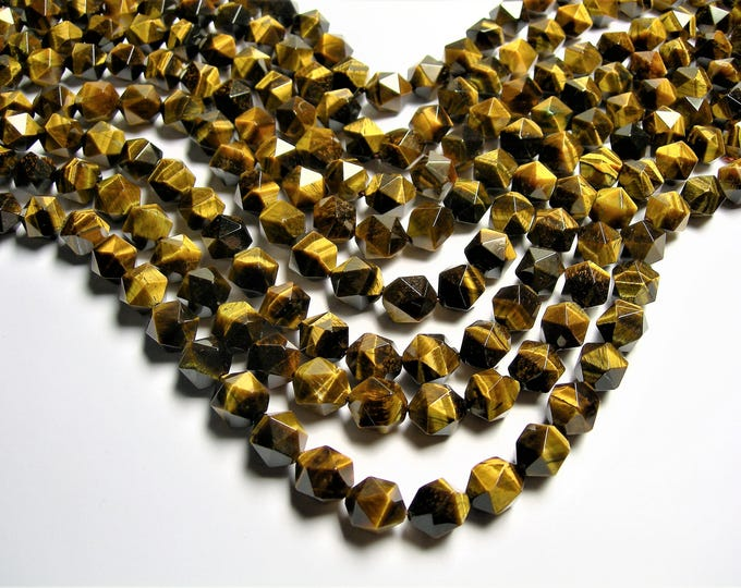 Tiger eyes - 12mm big diamond cut  faceted beads - full strand - 31 beads - A quality - Yellow tiger eyes - RFG1412