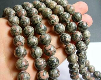 Crinoid  Jasper - 12mm  round beads -1 full strand - 33 beads - RFG451