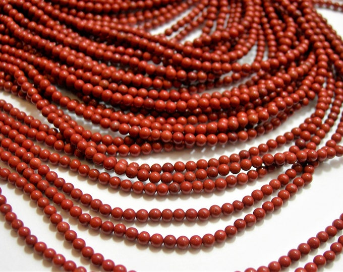 Red Jasper - 2 mm(2.4mm) round beads - 1 full strand - 162 beads - PG111