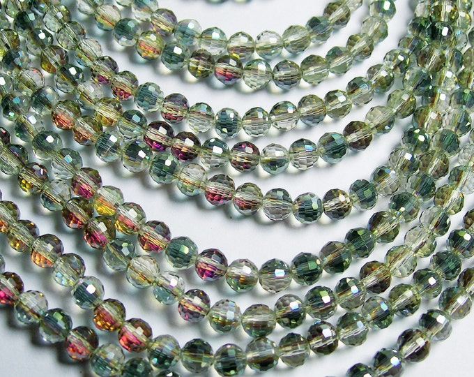 Crystal - round faceted 6mm beads - 100 beads - 26 inch strand - watermelon sparkle Ab - AA quality - CRV49