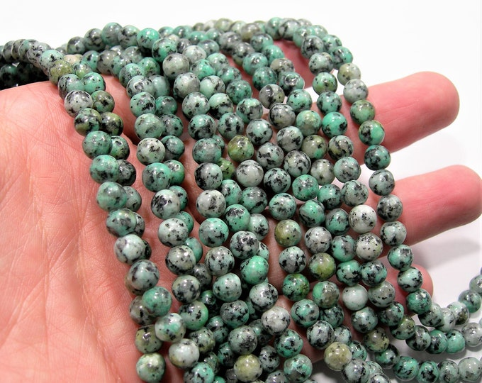 Turquoise jade 6mm round beads - full strand - 63 beads - African turquoise substitute  - RFG1881