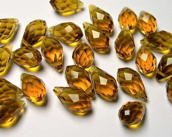 Faceted teardrop crystal briolette beads - 25 pcs - 13mm x 8mm - top sideways drill - Dark amber color - CRTD16