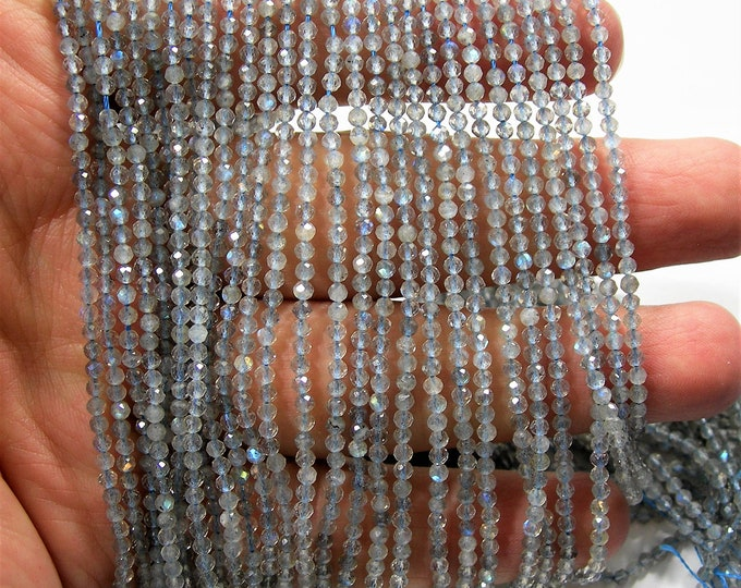 Labradorite - 2mm faceted round beads - full strand - 172 beads - micro faceted labradorite - AA QUALITY - PG159