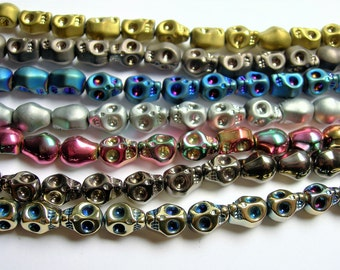 Crystal skull - 8x10mm skull bead - 7 color to choice - 30 beads per strand - AA quality - SFB11