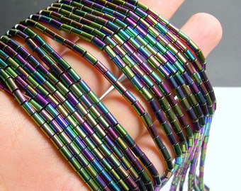 Hematite Rainbow - 5mm tube beads - 1 full strand - 80 beads - AA quality - PHG250