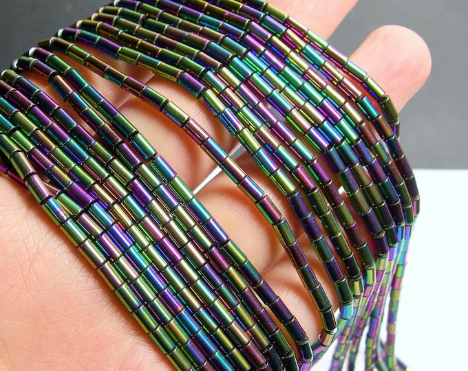 Hematite Rainbow - 5mm tube beads - 1 full strand - 80 beads - AA quality - PHG250