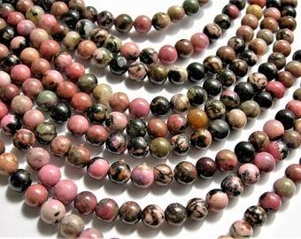 Rhodonite - 6mm round - full strand - 64 beads - Black veined Rhodonite - RFG1561