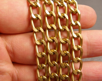 Brass chain - lead free nickel free won't tarnish - 1 meter - 3.3 feet - aluminum chain - matte -  NTAC83