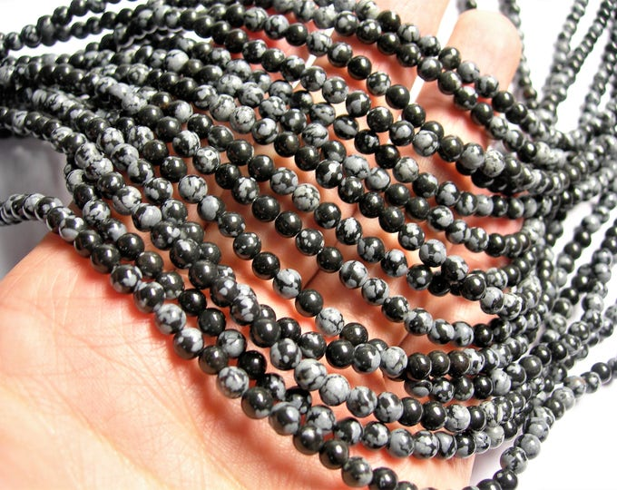 Snowflake obsidian - 4 mm round beads -1 full strand - 88 beads - A quality - RFG1401