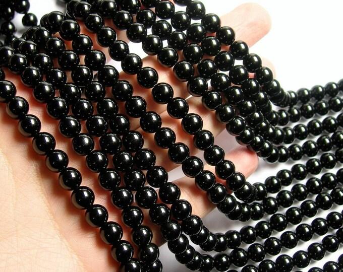 Black Obsidian - 8mm round beads -  full strand - 49 beads - RFG1121
