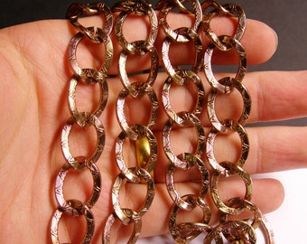 Copper chain - lead free nickel free won't tarnish - 1 meter - 3.3 feet - aluminum chain - etched chain - NTAC62