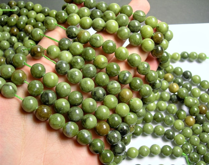 Serpentine Jade -  10mm - round  - A quality  - 39  beads - full strand - Mix tone - RFG1371